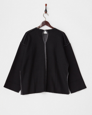 BLACK REVERSIBLE RAW EDGE SWEATSHIRT見る