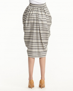 GREY STRIPE WRAPPED SKIRT見る