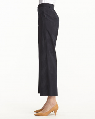 NAVY PIN STRIPE WIDE LEG TROUSERS見る