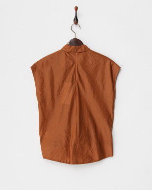BROWN  GLOSSY FABRIC KNOTS SHIRT見る