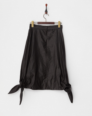 BLACK  GLOSSY FABRIC KNOTS HEM SKIRT見る