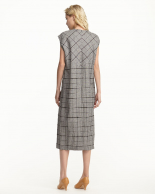 GREY CRINKLE CHECK COCOON DRESS見る
