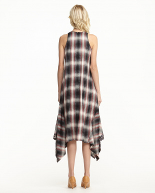 BLACK  CHECK MAXI DRESS見る