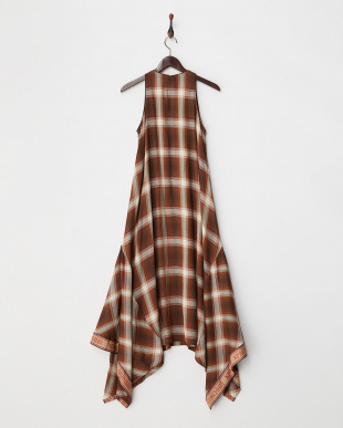BROWN  CHECK MAXI DRESS見る