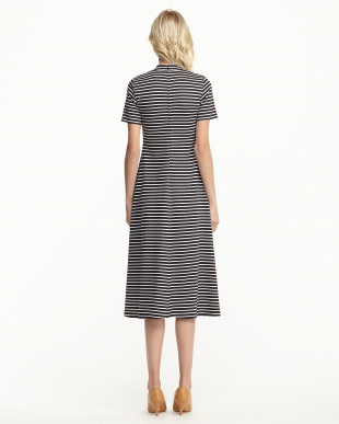 BLACK STRIPE HIGH NECK DRESS見る