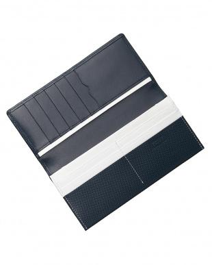 ネイビー/ホワイト  型押しコンビシリーズ カブセ長財布見る
