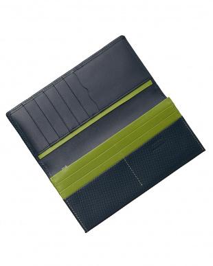 ネイビー/グリーン  型押しコンビシリーズ カブセ長財布見る