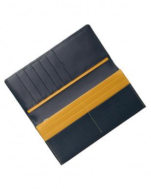 ネイビー/イエロー  型押しコンビシリーズ カブセ長財布見る