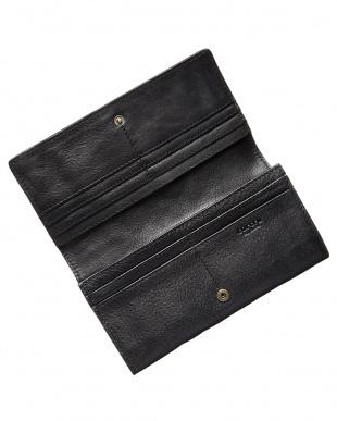 ブラック  かぶせ長財布見る