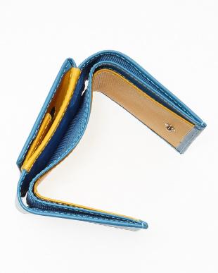ブルー/イエローン  リガーシリーズ コンパクト札入れ(三つ折り財布)見る
