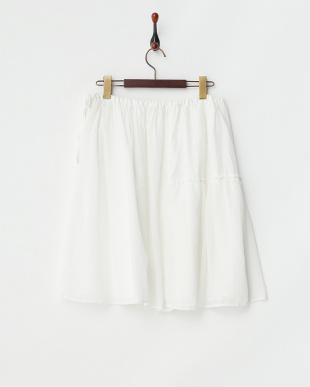 オフホワイト シフォン使いフレアスカート見る