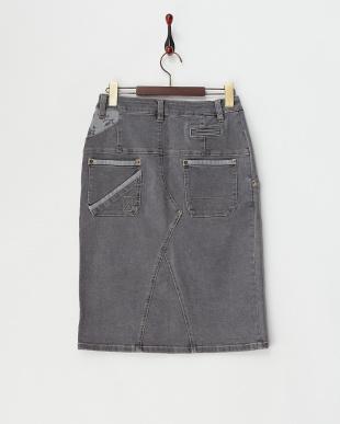 グレー 単色フラワープリント使いデニムスカート見る