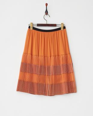 オレンジ 異素材切替プリーツ スカート見る