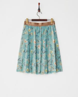 ミント 花瓶プリントNネット スカート見る