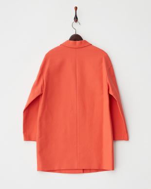 オレンジレッド コットンカルゼ二重織り ジャケット見る