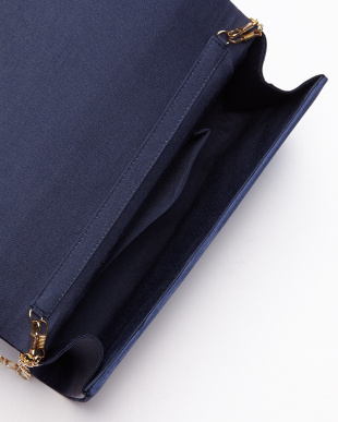 NAVY  SATIN CLUTCH見る