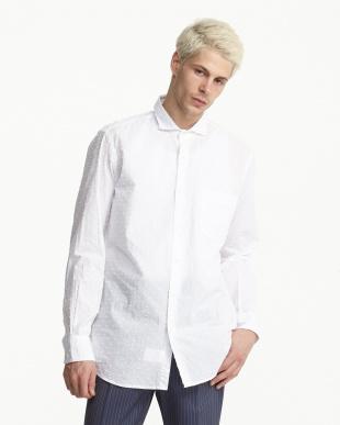 白 立体ドットコットンシャツ見る