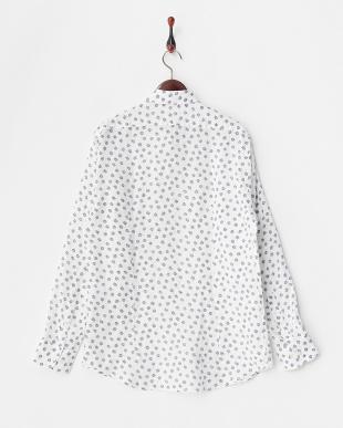 白 小花プリントリネンシャツ見る