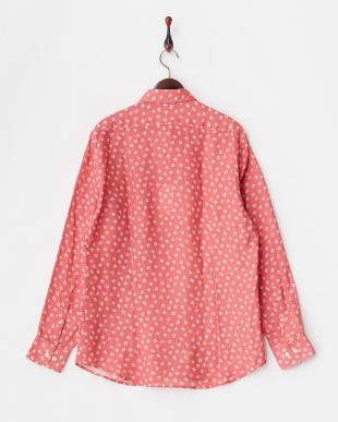 赤 小花プリントリネンシャツ見る