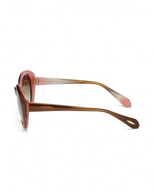 ブラウン×ピンク  Kathleen-P オーバルシェイプサングラス見る