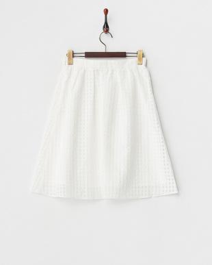 ホワイト シースルーチェックギャザースカート見る
