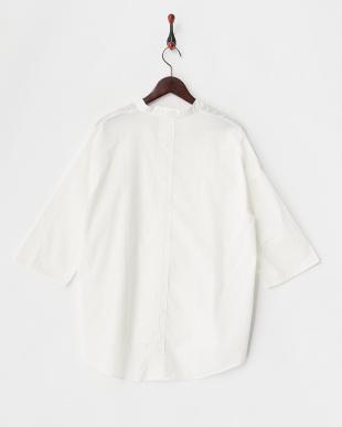 ホワイト コットンローン ワイドスリーブスキッパーシャツ見る