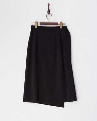 ブラック ラップミディスカート見る