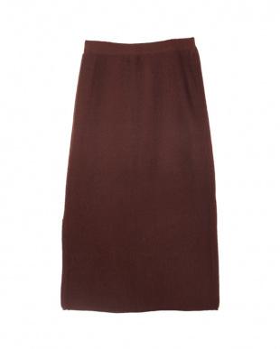 ブラウン  ニットタイトスカート見る