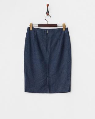 ネイビー インディゴタイトスカート見る