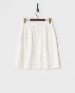 ホワイト  コットンリネン 刺繍スカート見る