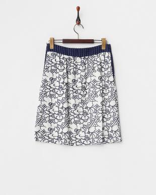 ネイビー  コットンリネン 刺繍スカート見る