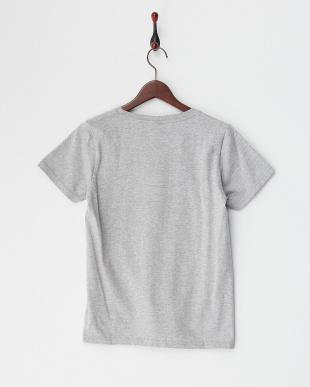 グレー コットンプリントTシャツ見る