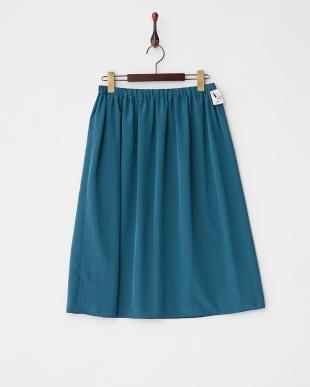 ベージュ×グリーン  ギャザーフレアスカート見る