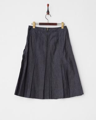 ネイビー リジットデニムプリーツスカート見る
