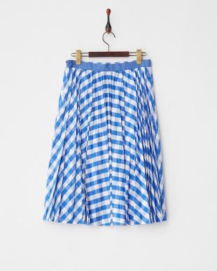 ブルー ギンガムプリーツスカート見る