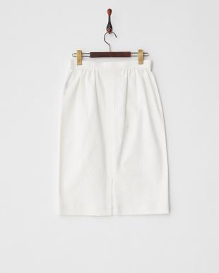 ホワイト  ゴールドボタン デニムタイトスカート見る