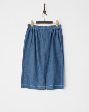 ブルー  ゴールドボタン デニムタイトスカート見る