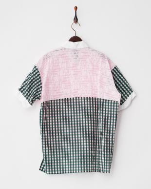 ピンク×グリーン系 柄切り替え クレリックオーバーシャツ見る