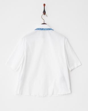 ホワイト 衿フリンジシャツ見る