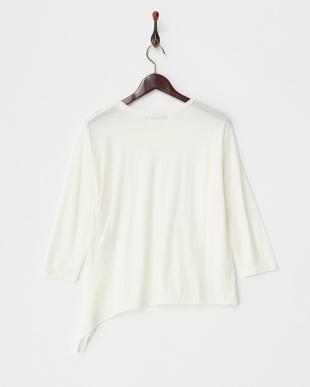 white ラフコットンアシメTシャツ見る