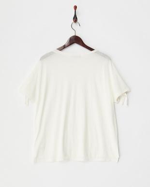 white  袖結びラフコットンTシャツ見る