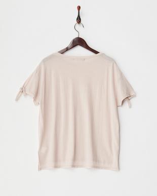 pink  袖結びラフコットンTシャツ見る