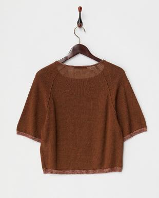 brown  5分袖リネンニット見る