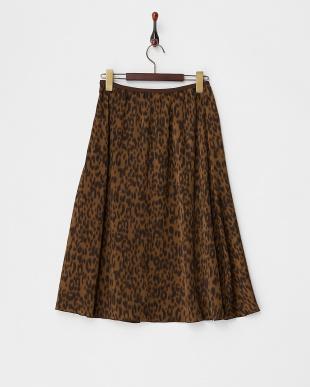 ブラウン レオパードギャザースカート見る