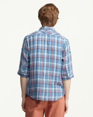 ブルー 7分袖チェックシャツ見る