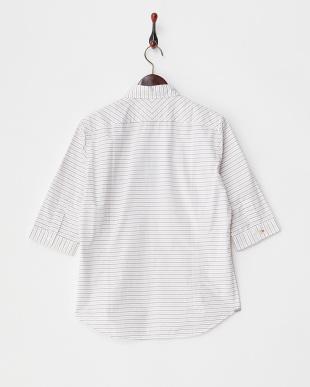 ホワイト  7分袖ボーダーシャツ見る