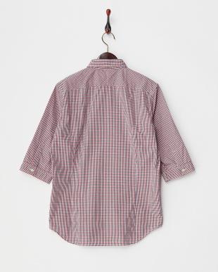 レッド 7分袖チェックシャツ見る