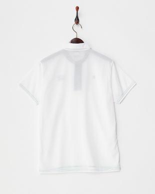 ホワイト  配色ステッチポロシャツ見る