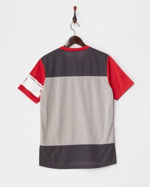 レッド  カラーブロックTシャツ見る