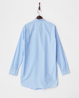ブルー アシンメトリー胸ポケットシャツ見る